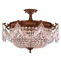 """Winchester Collection 3 Light French Gold Finish and Clear Crystal Semi Flush Mount Ceiling Light 20"""" D x 15"""" H Large"""