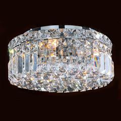 """Cascade Collection 4 Light Chrome Finish and Clear Crystal Flush Mount Ceiling Light 12"""" D x 5.5"""" H Round Small"""