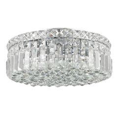 """Cascade Collection 4 Light Chrome Finish and Clear Crystal Flush Mount Ceiling Light 14"""" D x 5.5"""" H Round Medium"""