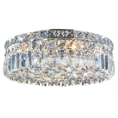 """Cascade Collection 5 Light Chrome Finish and Clear Crystal Flush Mount Ceiling Light 16"""" D x 5.5"""" H Round Medium"""