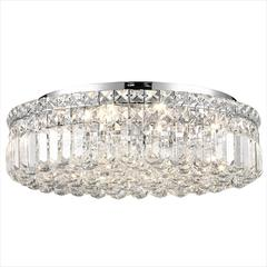 """Cascade Collection 6 Light Chrome Finish and Clear Crystal Flush Mount Ceiling Light 20"""" D x 5.5"""" H Round Large"""