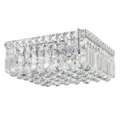 """Cascade Collection 4 Light Chrome Finish and Clear Crystal Flush Mount Ceiling Light 12"""" L x 12"""" W x 5.5"""" H Square Small"""