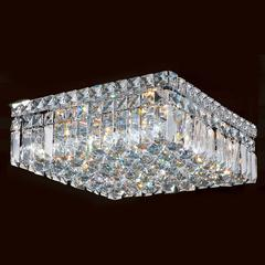 "Cascade Collection 4 Light Chrome Finish and Clear Crystal Flush Mount Ceiling Light 14"" L x 14"" W x 5.5"" H Square Medium"