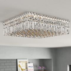 "Cascade Collection 6 Light Chrome Finish and Clear Crystal Flush Mount Ceiling Light 16"" L x 16"" W x 5.5"" H Square Medium"