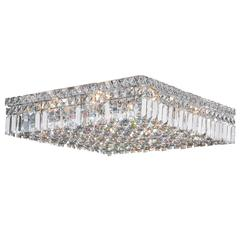 """Cascade Collection 12 Light Chrome Finish and Clear Crystal Flush Mount Ceiling Light 20"""" L x 20"""" W x 5.5"""" H Square Large"""