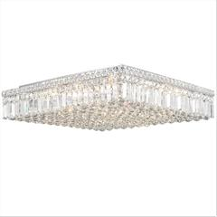 """Cascade Collection 13 Light Chrome Finish and Clear Crystal Flush Mount Ceiling Light 24"""" L x 24"""" W x 5.5"""" H Square Extra Large"""
