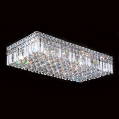"""Cascade Collection 6 Light Chrome Finish and Clear Crystal Flush Mount Ceiling Light 24"""" L x 12"""" W x 5"""" H Rectangle Extra Large"""