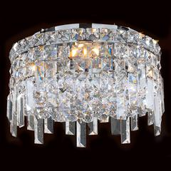 """Cascade Collection 4 Light Chrome Finish and Clear Crystal Flush Mount Ceiling Light 12"""" D x 7.5"""" H Round Small"""