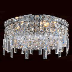 """Cascade Collection 4 Light Chrome Finish and Clear Crystal Flush Mount Ceiling Light 14"""" D x 7.5"""" H Round Medium"""