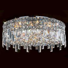 """Cascade Collection 6 Light Chrome Finish and Clear Crystal Flush Mount Ceiling Light 20"""" D x 7.5"""" H Round Large"""