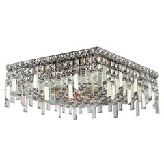 """Cascade Collection 6 Light Chrome Finish and Clear Crystal Flush Mount Ceiling Light 16"""" L x 16"""" W x 7.5"""" H Square Medium"""