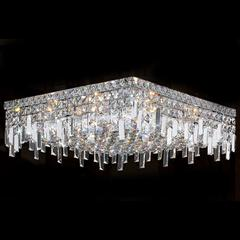 """Cascade Collection 12 Light Chrome Finish and Clear Crystal Flush Mount Ceiling Light 20"""" L x 20"""" W x 7.5"""" H Square Large"""