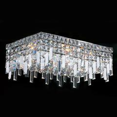 """Cascade Collection 4 Light Chrome Finish and Clear Crystal Flush Mount Ceiling Light 20"""" L x 10"""" W x 7.5"""" H Rectangle Large"""
