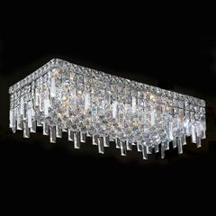 """Cascade Collection 6 Light Chrome Finish and Clear Crystal Flush Mount Ceiling Light 24"""" L x 12"""" W x 7.5"""" H Rectangle Extra Large"""