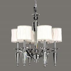 """Gatsby Collection 6 Light Chrome Finish and Clear Crystal Chandelier with White Fabric Shade 22"""" D x 23"""" H Medium"""
