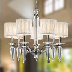 """Gatsby Collection 7 Light Chrome Finish and Clear Crystal Chandelier with White Fabric Shade 24"""" D x 23"""" H Large"""