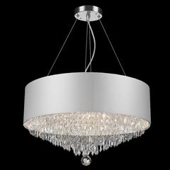 """Gatsby 8 Light Chrome Finish and Clear Crystal Chandelier with White Acrylic Drum Shade 20"""" D x 12"""" H Medium"""