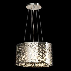 """Aramis Collection 5 Light Chrome Finish and Clear Crystal Drum Chandelier 16"""" L x 8"""" W x 9"""" H Mini"""