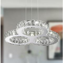 """Galaxy 20 LED Light Chrome Finish and Clear Crystal Triple Ring Dimmable Chandelier 22"""" D x 2"""" H Large"""