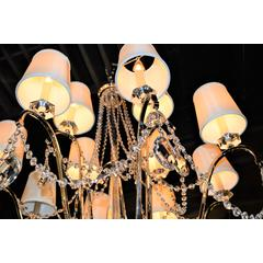 """Innsbruck Collection 12 Light Chrome Finish and Clear Crystal with Ivory Shade Chandelier 25"""" D x 35"""" H  Two 2 Tier Large"""