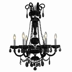 """Carnivale Collection 6 Light Chrome Finish and Black Crystal Chandelier 25"""" D x 34"""" H Large"""
