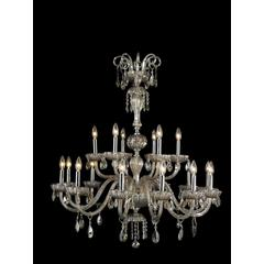 """Carnivale Collection 18 Light Chrome Finish and Golden Teak Crystal Chandelier Two 2 Tier 36"""" D x 39"""" H Large"""