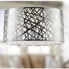 """Julie Collection 4 Light Chrome Finish Oval Drum Shade with Clear Crystal Chandelier 21"""" L x 12"""" W x 11"""" H Medium"""