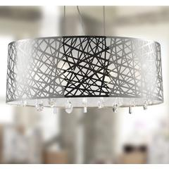 """Julie Collection 6 Light Chrome Finish Oval Drum Shade with Clear Crystal Chandelier 29"""" L x 12"""" W x 11"""" H Large"""