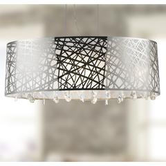 """Julie Collection 8 Light Chrome Finish Oval Drum Shade with Clear Crystal Chandelier 35"""" L x 12"""" W x 11"""" H Large"""