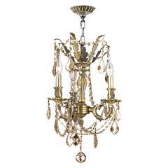 "Windsor Collection 3 Light Antique Bronze Finish and Golden Teak Crystal Mini Chandelier 13"" D x 18"" H"