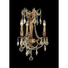 """Windsor Collection 3 Light French Gold Finish and Golden Teak Crystal Mini Chandelier 13"""" D x 18"""" H"""