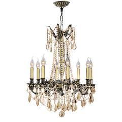 """Windsor Collection 8 Light Antique Bronze Finish and Golden Teak Crystal Chandelier 24"""" D x 30"""" H Large"""
