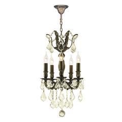 "Versailles Collection 5 Light Antique Bronze Finish and Golden Teak Crystal Mini Chandelier 15"" D x 22"" H"