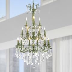 """Versailles Collection 21 Light Antique Bronze Finish and Clear Crystal Chandelier 29"""" D x 50"""" H Three 3 Tier Large"""