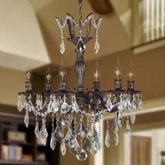 """Versailles Collection 6 Light Flemish Brass Finish and Clear Crystal Chandelier 23"""" D x 26"""" H Large"""