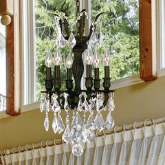 """Versailles Collection 6 Light Flemish Brass Finish and Clear Crystal Chandelier 13"""" D x 23"""" H Mini"""