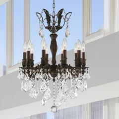 """Versailles Collection 10 Light Flemish Brass Finish and Clear Crystal Chandelier 19"""" D x 25"""" H Medium"""