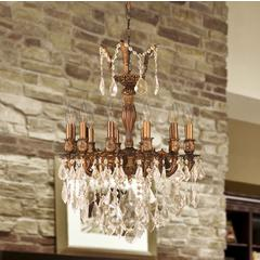 """Versailles Collection 12 Light French Gold Finish and Golden Teak Crystal Chandelier 20"""" D x 26"""" H Medium"""