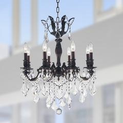 """Versailles Collection 8 Light Flemish Brass Finish and Clear Crystal Chandelier 22"""" D x 26"""" H Medium"""