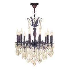 "Versailles Collection 12 Light Flemish Brass Finish and Golden Teak Crystal Chandelier 24"" D x 27"" H Large"