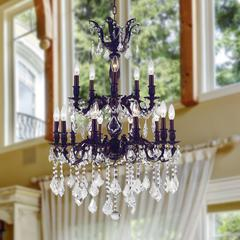 """Versailles Collection 15 Light Flemish Brass Finish and Clear Crystal Chandelier 24"""" D x 35"""" H Two 2 Tier Large"""