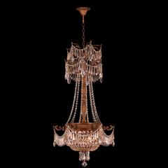"""Winchester Collection 3 Light French Gold Finish and Golden Teak Crystal Chandelier 20"""" D x 34"""" H Medium"""