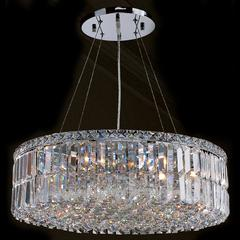 """Cascade Collection 12 Light Chrome Finish and Clear Crystal Circle Chandelier 24"""" D x 7.5"""" H Large"""