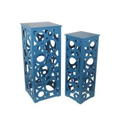 2Pc Cut Out Tall Tables - Blue