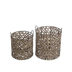 2Pc Round Resin Wicker Baskets