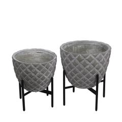 2 Pc Set Cement Planter Stands