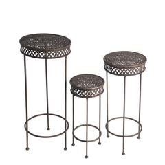 3 Pc Iron Plant Stands-Round