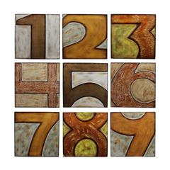 9pc Wood Numbered Wall Decor