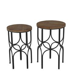 2 Pc Round Metal Plant Stands