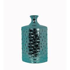 Tall Ceramic Weave Vase - Metallic Turq.